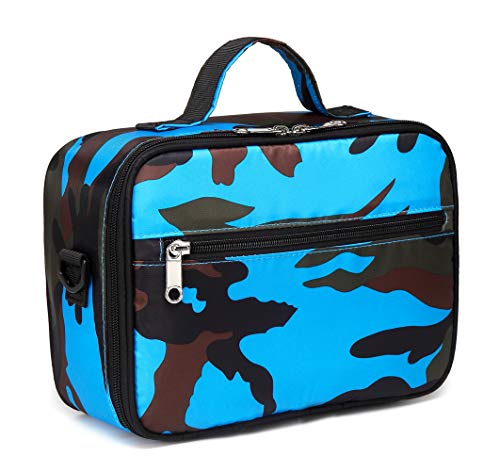 Kids Insulated Lunch Bags for Boys Lunch Box Carrier for Girls for School Food Cooler (Camo Blue) (Lunch Box Camo Insulated)
