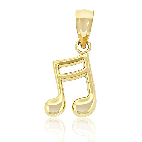 Gold Eighth Note (Charm America - Gold Music Note Charm - 14 Karat Solid Gold)
