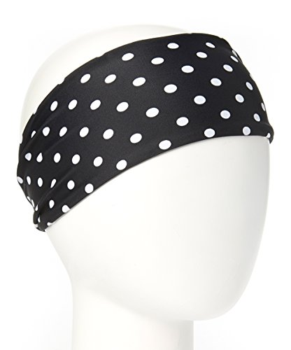 ice cream INTENSITY Black Dots Workout Sweatband: No slip, Antibacterial, Hypoallergenic and Thermo Regulating (Black, White)