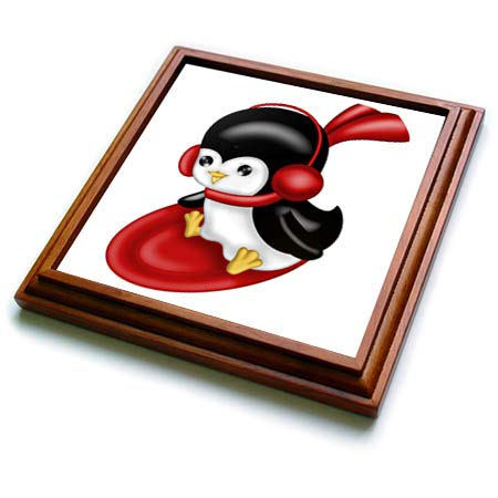 3dRose Anne Marie Baugh - Christmas - Cute Christmas Sledding Penguin Illustration - 8x8 Trivet with 6x6 ceramic tile - Penguin Sledding