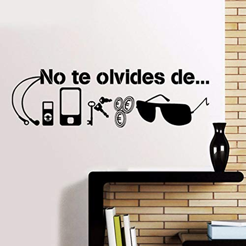 Pbldb 57X17Cm Spanish Quotes Wall Decal Stickers Walls No to Forget of Key Cash Phone Sunglasses Necessities Before Leaving Vinyl