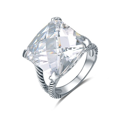 Quiges Antique Cocktail 925 Silver Classic Twisted Rope Statement Ring with Clear Princess Cut Crystal CZ 19