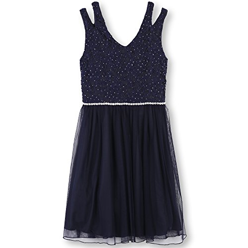Speechless Girls Plus Size' Glitter Lace to Tulle Dress, Navy, 20.5