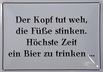Blechschild 10x15 Cm U0026quot;Der Kopf Tut Wehu0026quot; Spruch Sprüche Sign  Blechschilder Schild Schilder
