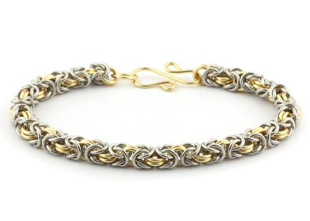 Weave Got Maille 2-Color Byzantine Chain Maille Bracelet Kit, Gold and Silver