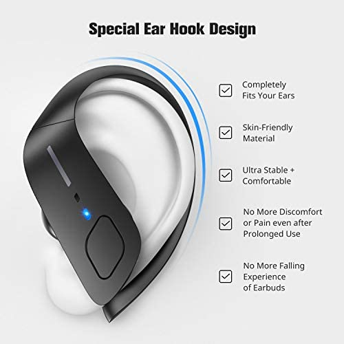 Wireless Earbuds, HolyHigh Bluetooth Earbuds 5.0 ET1 Wireless Headphones IPX7 Waterproof Sport Earbuds with Earhooks Stereo Sound Earphones in Ear for Running Workout Gym(Black) 41xjsVE4zFL