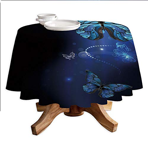 - Dark Blue Round Polyester Tablecloth,Fantasy Magical Butterflies Monarch Artistic Morpho Inspiration,Dining Room Kitchen Round Table Cover,42