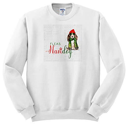 3dRose Doreen Erhardt Christmas Collection - Brown and White Cocker Spaniel Breed Specific Fleas Navidog Funny - Sweatshirts - Youth Sweatshirt Small(6-8) ()