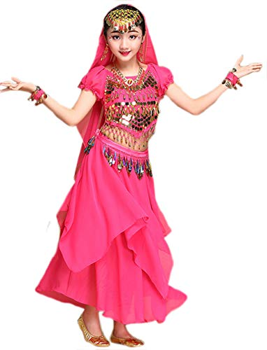 Girls Halloween Costume Set - Kids Belly Dance Halter Top Pants with Jewelry Accessory for Dress Up Party (Hot Pink(Skirt Set), S(Height: 39