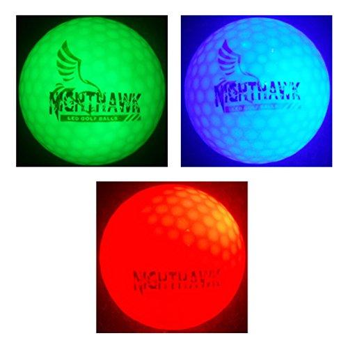 3 Nighthawk Glow In Dark LED Light Up Golf Balls Super Bright Night Golf Fun, (1 Green, 1 Blue, 1 (Glow Golf Balls)