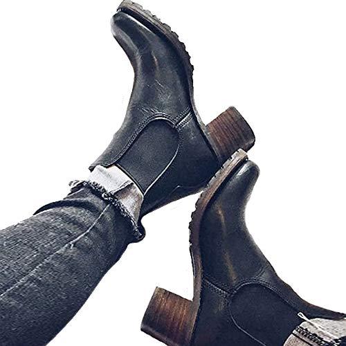 - Syktkmx Womens Winter Ankle Boots Chelsea Platform High Chunky Heel Slip On Booties Black