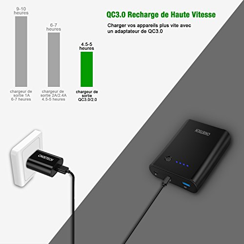 CHOETECH Quick Charge 3.0 Powerbank, 10400mAh USB Tipo C Power Delivery 18W (entrada / salida) Powerbank con cable USB C Compatible con Galaxy S9 / S9 + ...