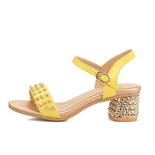 Amoonyfashion Mujeres Kitten Heels Nappa Solid Hebilla Open Toe Sandals Yellow