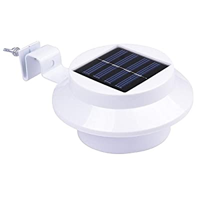 Commart Outdoor Solar Powered 3 LED Security Landscape Garden Yard Fence Light Lamp