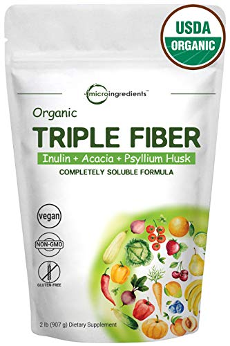 Organic Triple Prebiotic Dietary Fiber Supplement Powder for Digestive Health, 2 Pound (32 Ounce), All Natural, Clear, Water Soluble and Taste-Free, Non-GMO and Vegan Friendly