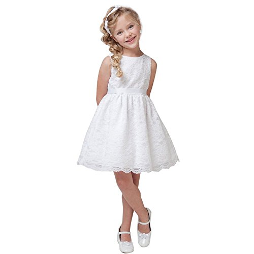 CHICTRY Kids Girls Vintage Flower Girl Dress Lace Princess Pageant Party Gown Wedding Dresses White 9-10T ()