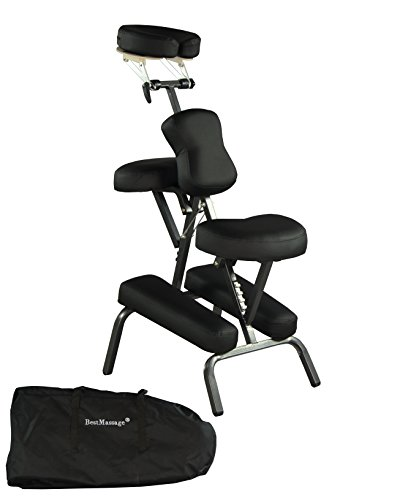 Portable Massage Chair Comfort 4″ Thick Foam Light Weight Best Massage Brand With Free Carrying Bag BLACK