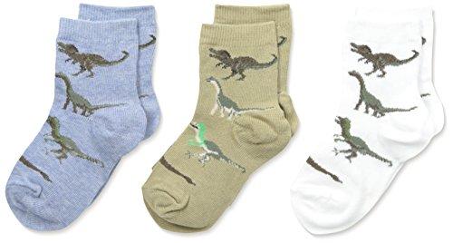 Country Kids Little Boys' Real Dinosaur Socks 3 Pair, Assorted Dark Mix, Sock 5-6/Shoe 3-7.5