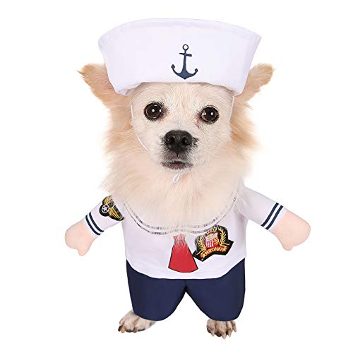 HDE Sailor Suit with Cap Pet Halloween Costume One Piece Slip On Costume with Arms and Hat for Small and Medium Dogs (White, Large)