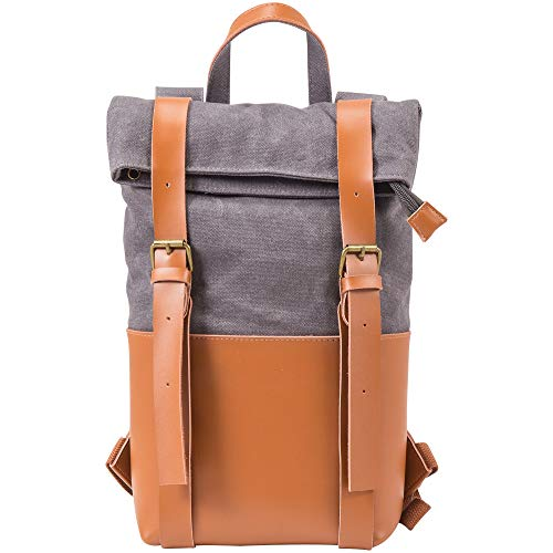 Primeware 2-Bottle Wine Leather Backpack | Made with Full Grain Leather | Interior is Insulated with Synthetic Wool and has Divider to Protect Bottles (2-Bottle, Grey)