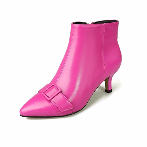 HXVU56546 Women Shoes Artificial Leather Boots With Fine Pointed Fashion Boots 9a11c Side Zipper With Belt Buckle Red in color