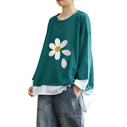 VigorY Women's Vintage Corduroy Cotton Linen Ethnic Print Jacquard Blouses T-Shirt Patchwork Retro Loose Tops Blouse