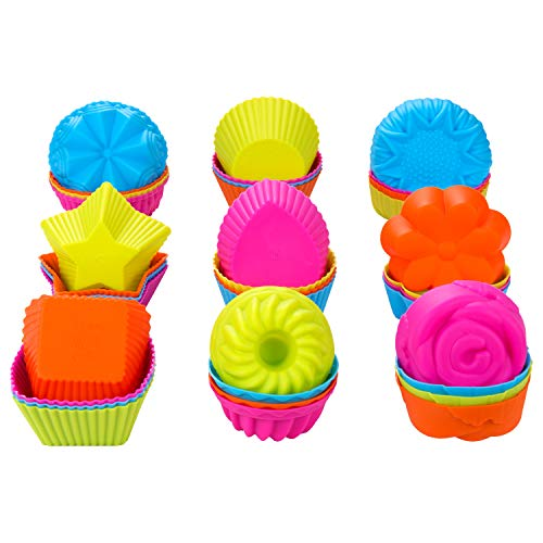 WARMWIND Silicone Muffin Cups, Food Grade Cupcake Baking Mold, 36-Pack Cake Cup Sets, Reusable Baking Cups, Non-Stick Cupcake Liners, Dishwasher Safe