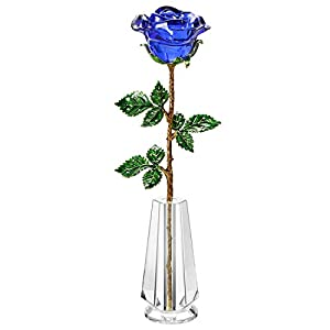 Z'Lavie Crystal Rose with Crystal Vase for Crystal Anniversary, Long Stem Roses Made from K9 Crystal, Great Gifts for Christmas Valentine's Day Birthday 1