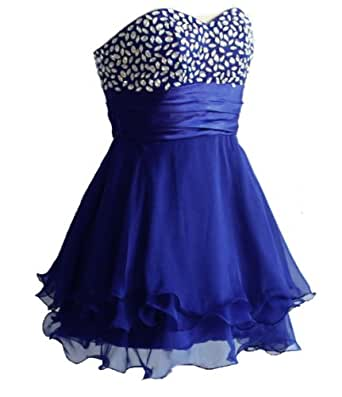 Faironly Above Knee Mini Short Silk Chiffon Crystal Cocktail Prom Dress (L, Blue)