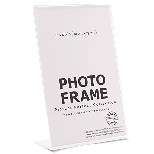 Pack of 4 x6 Acrylic Picture Frames, Sign Holders 4x6 Vertical (12) ()