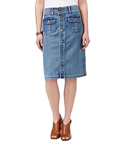 Style & Co. Denim Button-Front Skirt (PasBlue, 16)
