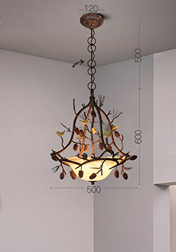 American Lighting Vintage Desk Lamp - PLLP American country vintage art pine bird chandelier, European pastoral creative restaurant living room bedroom iron lighting,A,One size