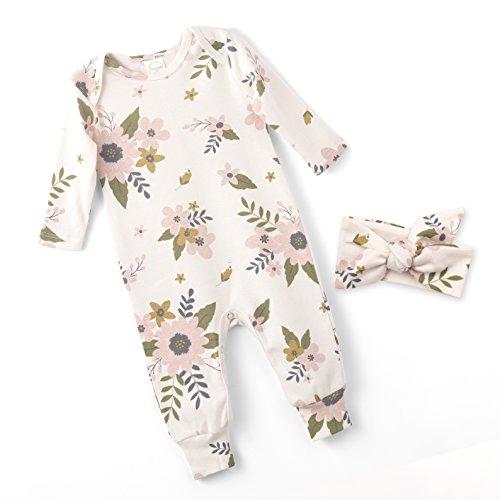 Tesa Babe Baby Girl Floral Romper and Headband (Newborn)