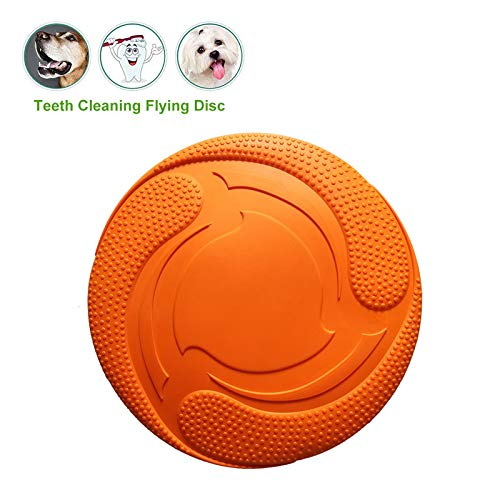 - KeTango Dog Flying Disc - Pet Chew Puzzle Training Toys - Flyer Disk with More Durable Soft Natural Healthy Rubber for Medium or Large Dogs Training Interactive Outdoor
