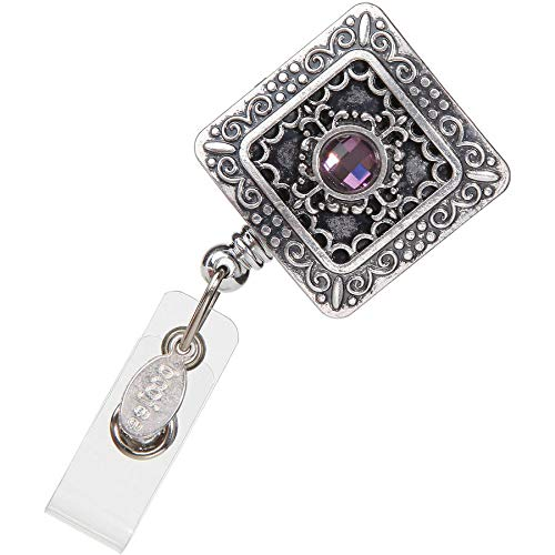 Square Retractable Badge Holder - BoojeeBeads Silver Vintage Square Retractable ID Badge Reel - Features an alligator clip back - An elegant ID card holder for women. Wear your name badge with style!