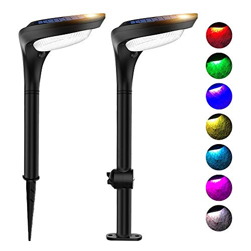ROSHWEY Solar Landscape Lights Outdoor 12 LED Flood Lamps Waterproof Solar Path Lights for Garden Patio Porch Pool Driveway Pathway (7 Colors, 2 Pack)
