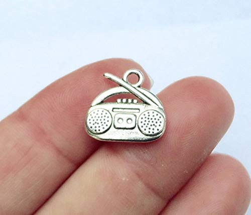 10, Radio, Stereo, Boom Box, Cassette Player, CD Charms (Double Sided) 15x15x3mm, Hole:Approx 2mm