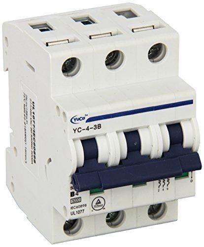 Yc-4-3B Yuco Din Rail Miniature Circuit Breaker 3P 4A B Curve 277/480V 50/60Hz Tuv Ul 1077 European Design Csa C22.2