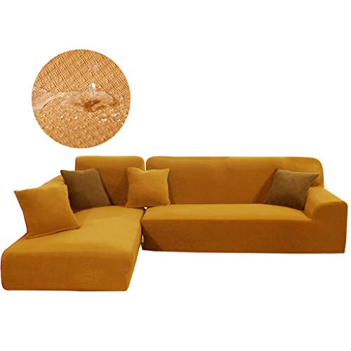 Obokidly for 2 Pieces Sectional Sofa Cover Cushion Couch Upholstered Chaise Imperial Concubine Centre Sleeper Living Room Imperial Queen Sofa Concubine Sofa (Khaki, L-Shape (4 Seats+4 Seats))