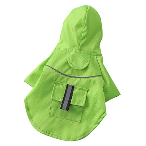 FakMe Pet Dog Cat Raincoat Pet Dog Outdoor Waterproof Hooded Rain Jacket Coats Pet Clothes (S, Green)