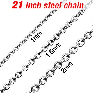316L Stainless Steel Necklace w/ Round Links - Length 21