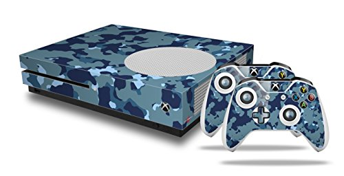 WraptorCamo Old School Camouflage Camo Navy - Decal Style Skin Set fits XBOX One S Console and 2 Controllers (XBOX SYSTEM SOLD SEPARATELY) by WraptorSkinz