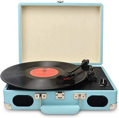 DIGITNOW Vintage Turntable، 3 Vinyl Speed Record Player-کیف / کیف و ویندوز با بلندگوهای استریو داخلی ، از خروجی USB / RCA / جک هدفون / MP3 / تلفن همراه پخش موسیقی (آبی)