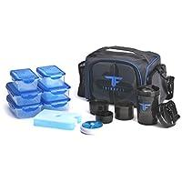 Fiambreras con aislamiento ThinkFit con 6 contenedores de control de porciones, bolsa de hielo reutilizable, pastillero, copa Shaker, correa para el hombro y bolsillo de almacenamiento adicional (azul)
