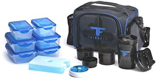 ThinkFit Insulated Lunch Boxes with 6 Portion Control Containers, Reusable Ice Pack, Pill Box, Shaker Cup, Shoulder Strap and Extra Storage Pocket (Blue) for Meal Prep