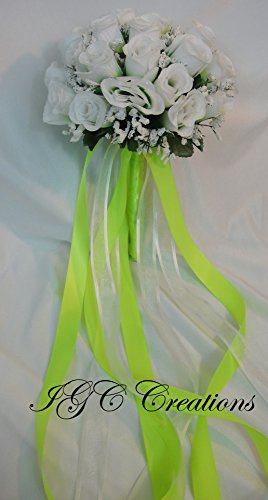 (IGC Wedding Bridal Floral Flower Bouquet - Silk Rose Flowers Bouquets With Raindrops And Organza/Satin and/or Grosgrain Ribbon - Two Tone - Lime Green/White (SRWB-058))