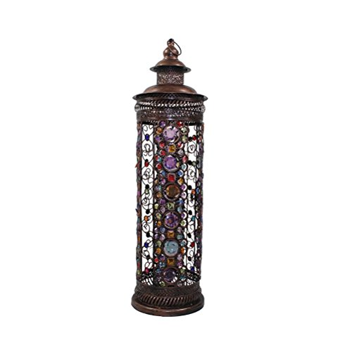 Colourful Glass Beads - FORWIN Floor Lamp w- Large Iron Moroccan Floor Lamp Stylish Cutwork Jeweled Floor Light with Colourful Organic Glass Beads E141,86x24cm Indoor Lighting