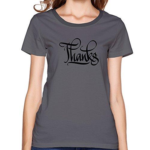 GGifKCU Thanks Calligraphy Tshirts For Womens L DeepHeather