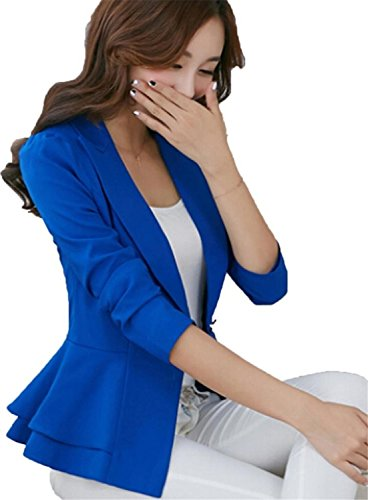 Umanak Fancy Womens Long Sleeve Falbala Solid Slim Casual Suit Jacket Blazer Coat Navy BlueXL=US6