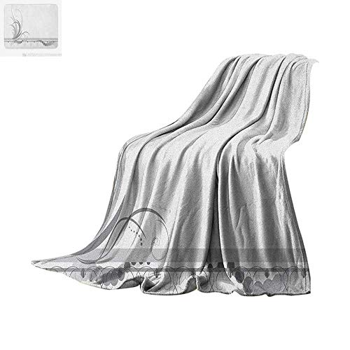 Dot Border Swirl (Grey Throw Blanket Ornament Border with Artistic Swirls Dots in Rococo Style Renaissance Details Warm Microfiber All Season Blanket for Bed or Couch 80